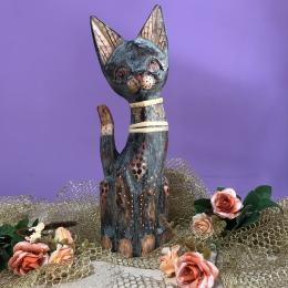 Кошка серо-коричневая с узором 30 см