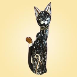 Кошка с цветком и завязкой 50 см