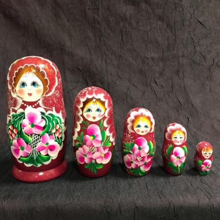 Матрешка красная 5-кукольная