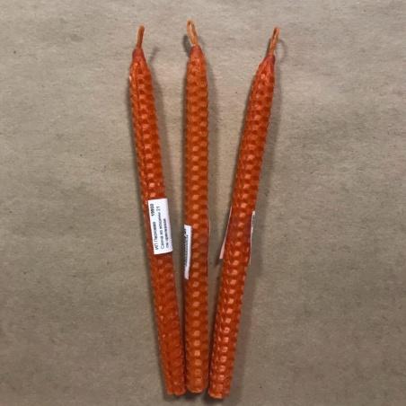 Свеча из вощины 21 см оранжевая
