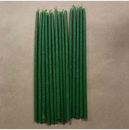 Свеча 18 см восковая зеленая (35мин.)
