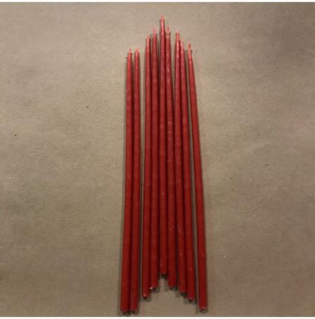 Свеча 22 см восковая красная