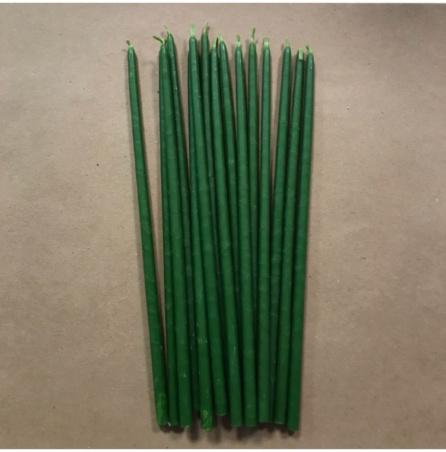 Свеча 22 см восковая зеленая