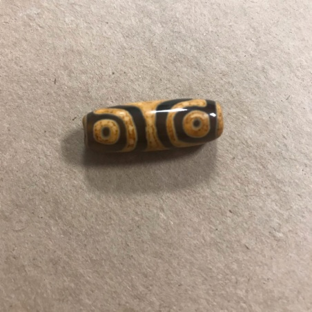 Бусина Дзи 4 глаза (карамельный узор на сером агате)