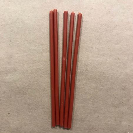 Свеча тонкая 17 см. красная (воск + парафин)