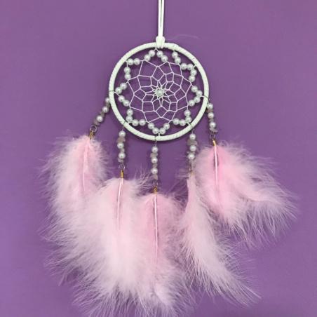 Ловец снов розовый с искусственным жемчугом