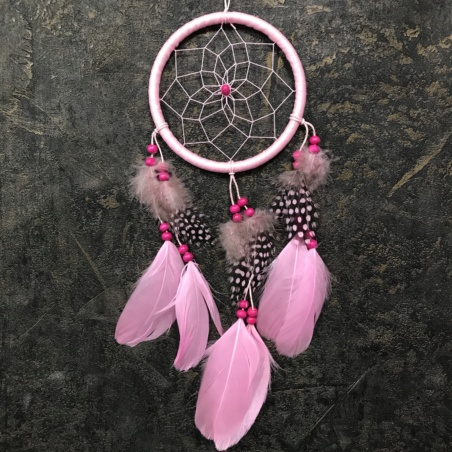 Ловец Снов розовый с крапчатыми перьями