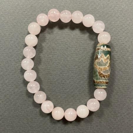 Браслет Дзи с мешочком из камня Розовый кварц