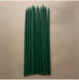 Свеча 26 см восковая зеленая
