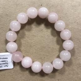 Браслет из розового кварца (бусины 12 мм)