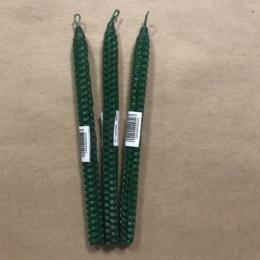 Свеча из вощины 21 см зеленая