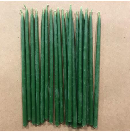 Свеча 15 см восковая зеленая