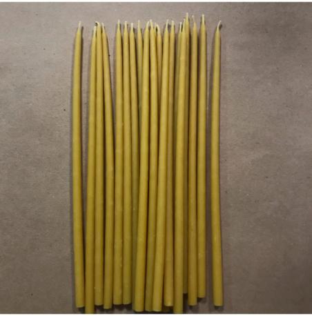 Свеча 22 см восковая желтая